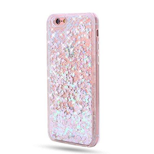 Sunroyal iPhone 7 Liquid Hülle weiß/lila mit Herzen, Quicksand Dynamic Dynamic Flüssiges Case, Glitter Hülle Cool 3D Fließen Flüssig Bling Schwimmend Treibsand Stern Luxus Shiny Case Glanz Shiny Effek Pattern 03