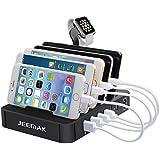 Estación de Carga, JEEMAK USB de 6 puertos Cargador Rápido con Almacenamiento de Cables, Cargador USB Multi-puerto Soporte de Carga de Escritorio para AppleWatch Smartphones y Tabletas