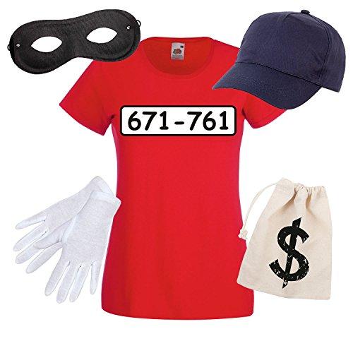 Lady-T-Shirt PANZERKNACKER Kostüm mit WUNSCHNUMMER-STANDARDNUMMER Frauen Kinder Verkleidung zum Karneval Fasching Outfit SET06 T-Shirt/Cap/Maske/Handschuhe/Beutel (Kostüme Berühmte Frauen Schwarze)