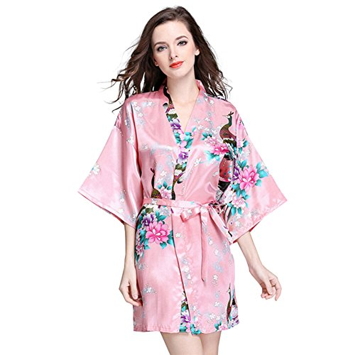 DSJJ Frauen Satin Kimono Robe Lace Dressing Gown Silk Kurzarm Damen Bademantel Nachtwäsche (Disney Satin-robe)