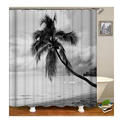 KnSam Anti-Schimmel Wasserdicht Duschvorhang Inkl. 12 Duschvorhangringen Kokosnussbaum Vorhänge An Badewanne Bad Vorhang für Badezimmer 180 X 200 cm