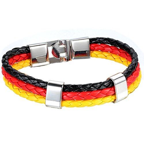 Leder Armband Germany Flag Bracelets Sport Fussball Deutschland Fahne (220) -