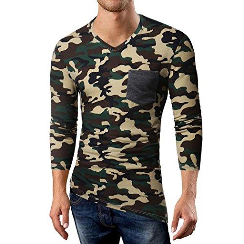OSYARD Herren Sommer Herbst Bluse Casual Camouflage Patchwork Tops Tarnung Langarm T-Shirt mit V-Ausschnitt