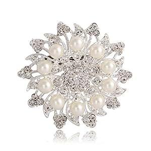 Valdler Spilla Fiore da Donna Perla di Imitazione Avorio Rotondo Cristallo Argento