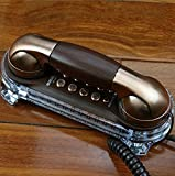 Antique Telefon Retro Wandmontage Verkabelt Telefon Continental Hotel Korridor, Bedside Telefon, Wand Tisch Dual Use ( Farbe : Ancient nickel )