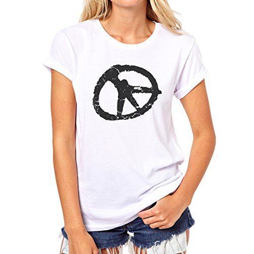 Graffitti Hip Hop Rap Peace Black Damen T-Shirt Weiß