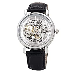 Time100 Skeleton Apparent Space Genuine Leather Strap Mechanical Couple Watch (For Man) W60026G.01A