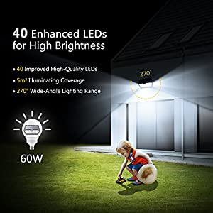 Mpow 3 Modes Solar Light, Super Bright [2018 Model] 40 LED Security Lights by Mpow