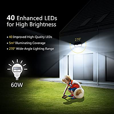 Mpow 3 Modes Solar Light, Super Bright [2018 New Model] 40 LED Security Lights