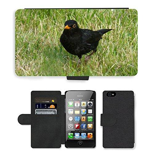 Just Mobile pour Hot Style Téléphone portable étui portefeuille en cuir PU avec fente pour carte//m00138216herbe oiseau Merle noir//Apple iPhone 44S 4G