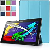 Bestdeal® High Quality Ultra Slim Lightweight SmartCover Stand Case for Lenovo Tab 2 A10-70 10.1 inch Tablet PC + Screen Protector and Stylus Pen (Sky Blue)