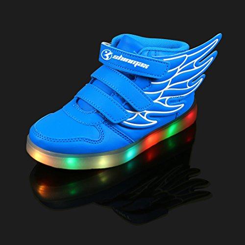 LED Chaussures,Angin-Tech Ange Série Led Chaussure 7 Couleurs USB Rechargeable Clignotant Chaussures Basket Lumineuse de Garçon et Fille pour Noël Halloween avec CE Certificat Bleu
