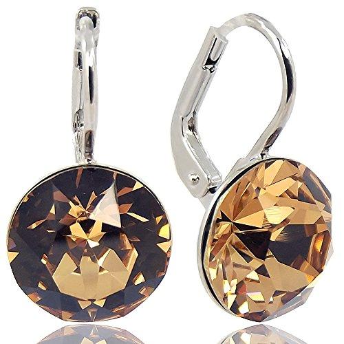 Ohrringe mit Kristallen von Swarovski® Braun Silber NOBEL SCHMUCK
