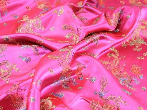 91,4cm breit Chinesischer Drache Brokat Kleid Stoff Fuchsia Pink-Meterware -