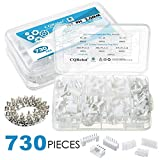 CQRobot 730 Pieces 2.0mm JST-PH JST Connector Kit. 2.0mm Pitch Female Pin Header, JST PH - 5/6 / 7 Pin Housing JST Adapter Cable Connector Socket Male and Female, Crimp DIP Kit.