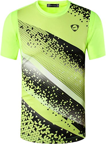 Jeansian Hombres Deportes Wicking Quick Dry Respirable Corriente Training tee T-Shirt Sport Tops LSL231 GreenYellow M