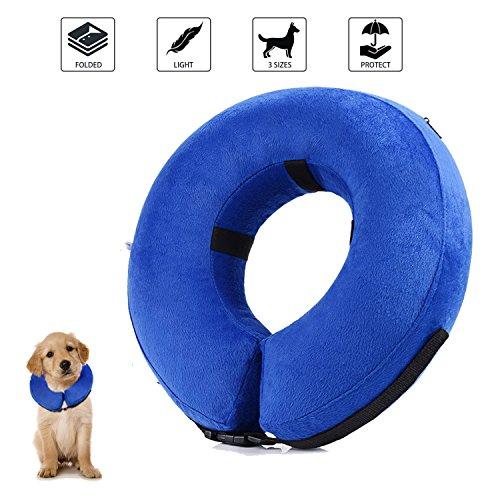 Collar de recuperación inflable para perros, cono de cuello isabelino ajustable para...