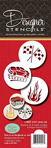 Designer Schablonen C800Mini, Schablonen-Set, (Flamme, Race Auto und Checker Flagge) beige/Halbtransparent (Schablone Us-flagge)