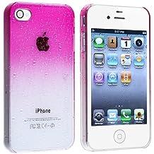 SODIAL(R) Funda para Apple iPhone 4 / 4S, Diseno de Gota de Agua - Transparente/Rosa Oscuro