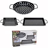 BBQ Barbecue Grill Pan Set 3 Pcs - Non Stick - Cooking