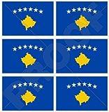 KOSOVO Kosovische Flagge KOSOVO 40mm Mobile, Handy Vinyl Mini Aufkleber, Abziehbilder x6 Stickers