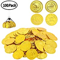 WELLXUNK 100 Pcs Pirate Plastic Gold Coins,Plastic Coins Pirate Gems Jewelry, Pirate Treasure Toy for kids Party Supply