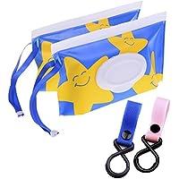 2 bolsas de limpieza húmeda + 2 ganchos de transporte para bebé, diseño de dibujos
