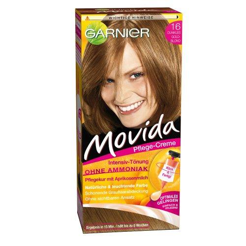 Garnier Tönung Movida Pflege-Creme, Intensiv-Tönung Haarfarbe 16 Dunkles Goldblond, 3er Pack