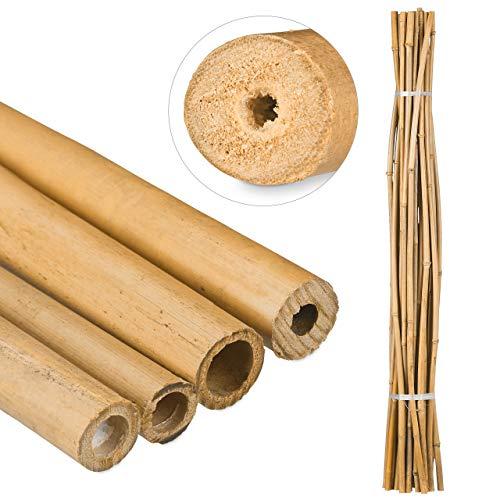 Relaxdays Bambusstäbe 150cm, aus natürlichem Bambus, 25 Stück, Bambusstangen als Rankhilfe oder Deko, zum Basteln, natur
