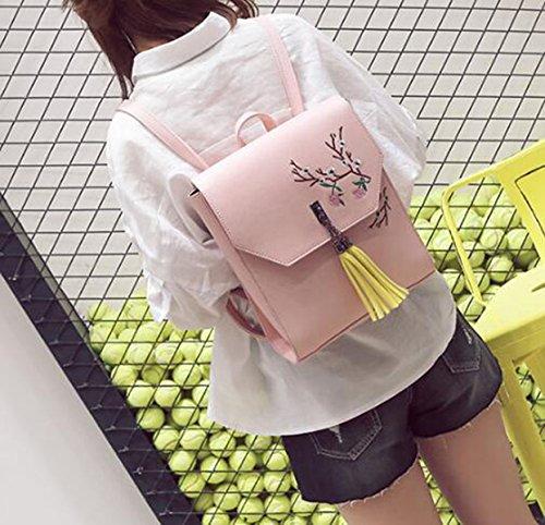 QPALZM Umhängetasche Frau PU Rucksack Stickerei College Stil Mode 2017 Retro Stickerei Rucksack Mädchen Pink