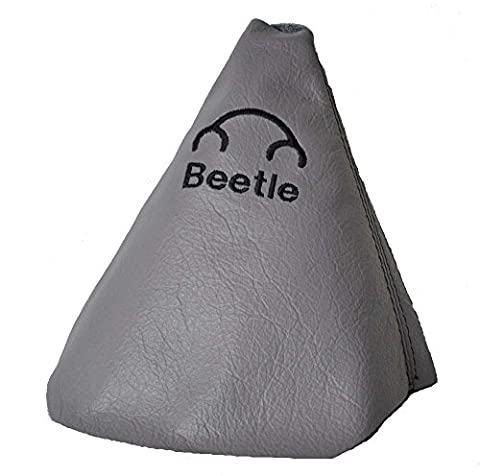 FOR VOLKSWAGEN NEW BEETLE 1997-2011 GREY LEATHER GEAR GAITER WITH