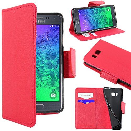 ebestStar - Compatibile Cover Samsung Galaxy Alpha SM-G850F Custodia Portafoglio Pelle PU Protezione Libro Flip, Rosso [Apparecchio: 132.4 x 65.5 x 6.7mm, 4.7'']