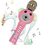 Microfono Karaoke per Bambini Bluetooth Portatile con Cassa Integrata, effetti Cambia Voce Magic Voice e Luci a LED