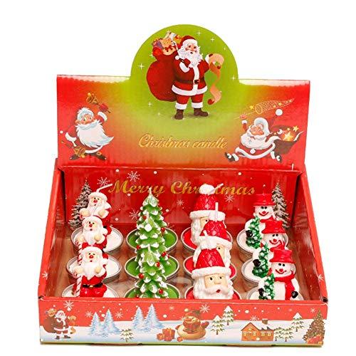 Molinter Kerzen Teelicht Weihnachten Deko Duftend Aromatherapie Romantische Schwimmkerzen Ohne Rauch 12 Stück/Set (C)