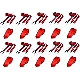 DonDon Herren Set 10 schmale Krawatten rot und 10 breite Hosenträger rot