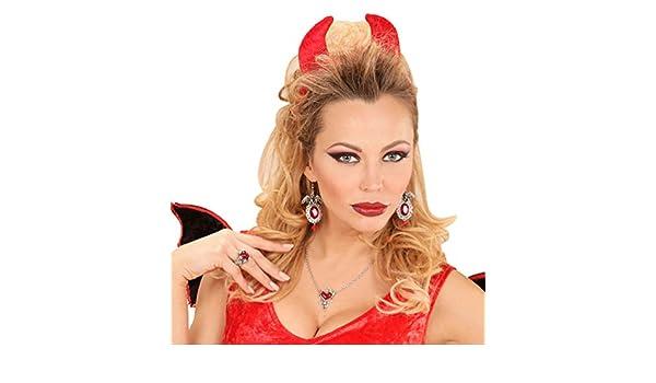 Karneval-Klamotten Kette Teufel Teufelin Halskette und Ohrringe Teufel-in Halloween Karneval