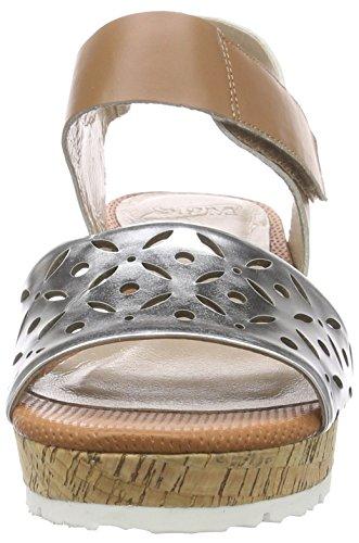 SPM  Lexus Sandal, Sandales à bride et talon compensé femme Multicolore - Mehrfarbig (Dk Cuoio 011/Silver)