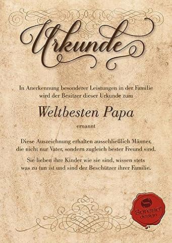 Urkunde für den Weltbesten Papa :: Geschenkkarte zum Geburtstag Weihnachten Vatertag (Geschenk Ideen Dad Geburtstag)