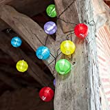 10 Multi Coloured LED Solar Chinese Lantern Fairy Lights by Lights4fun