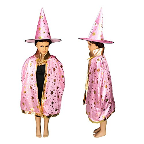Asnlove Kinder Kostüm Zauberer Set mit Hut Design Funkelnde Sterne Rosa