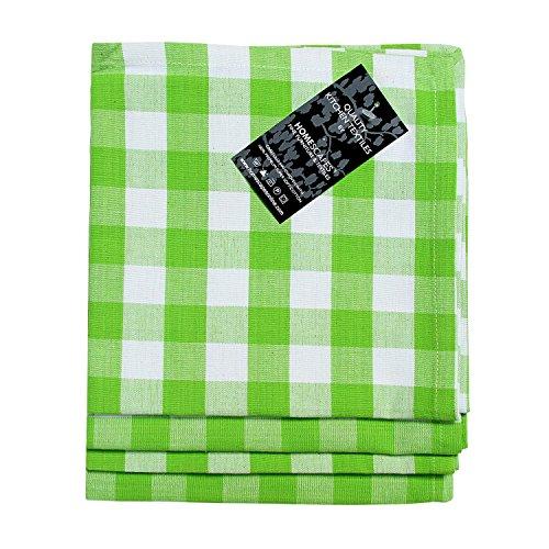 Homescapes Servietten Set Block Check 4tlg grün weiß kariert 45 x 45 cm aus 100% reiner Baumwolle, Stoffservietten grün