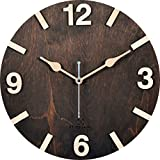 #6: BSQUARE 12 inches Handcrafted Wooden Wall Clock Dark Walnut BSWC048DW12