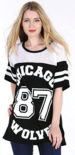 Donna Chicago 87lupi lungo maglia oversize Baseball Varsity larghi Top da donna Black M/L (44-46)