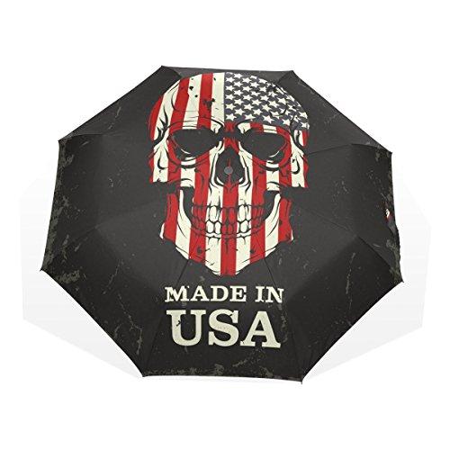GUKENQ - Paraguas de Viaje con diseño de Calavera, Ligero, antirayos UV, Resistente al Viento, Plegable, Compacto, diseño de la Bandera Estadounidense