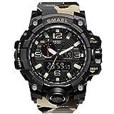 SunnyJenny Orologio da polso da uomo, stile militare, Orologi sportivi digitali multifunzione portato orologio-50m Water Resistant