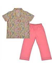 crayonflakes Kids Wear para las niñas algodón rosa noche traje pijama Set