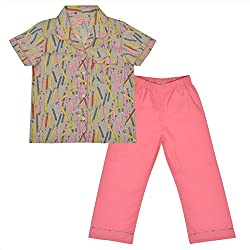 CrayonFlakes Kids Wear for Girls Cotton Pink Night Suit SleepSuit Set