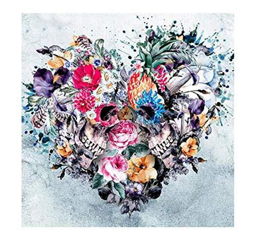 Zahlen DIY Rahmenlose Herz-Blumen-Schädel-Mosaik-Halloween Decoracrylic-Farbe Auf Leinwand Modern Für Hauptkünste 40x50cm ()