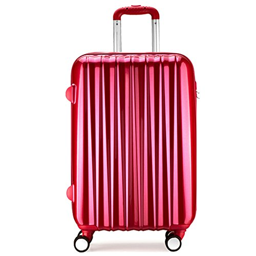 PARTYPRINCE Luggage Cabin Suitcase Rose Red hard shell ABS PC 20 inch 43L Trolley 4 Wheel Lightweight Lock multicolored