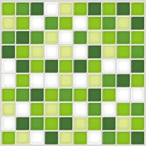 Ecoart Decorativos Adhesivos Para Azulejos Pegatina de pared, Azulejos de gel, diseño de mosaico, efecto 3d, autoadhesivo, Para cuarto de baño y cocina, 30cm*30cm, 6 piezas por paquete